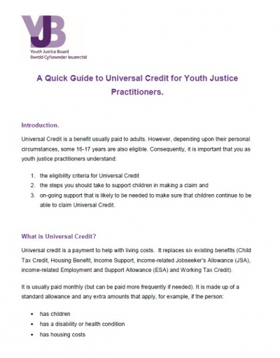 Universal Credit for Youth Justice Practitioners - A Quick Guide