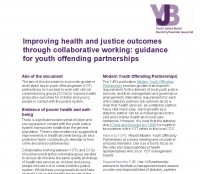Improving Health and Justice Outcomes Through Collaborative Working: Guidance for Youth Offending Partnerships (July 2016)