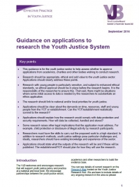Guidance on Applications to Research the Youth Justice System (2016)