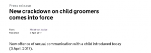 New Offence: Sexual Communication with a Child