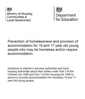 Prevention of Homelessness and Provision of Accommodation for 16 and 17 Year Old Young People Who May be Homeless and/or Require Accommodation Guidance
