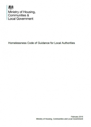 Homelessness Code of Guidance for Local Authorities
