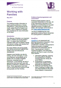 Working with families briefing for youth justice professionals